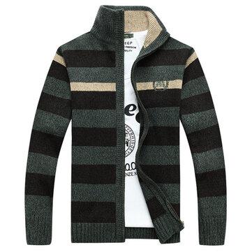 वसंत शरद ऋतु पट्टी बुना हुआ स्वेटर कार्डिगन स्टैंड कॉलर पुरुषों जैकेट कोट