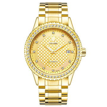 TEVISE Diamonds Business Style Automatic Mechanical Watch Stainless Steel Strap Men Watches