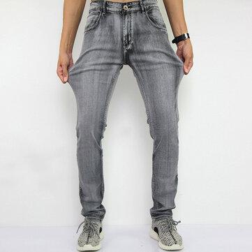 पुरुषों सीधे पैर स्लिम फिट ग्रे लोच डेनिम पैंट फैशन आरामदायक जींस