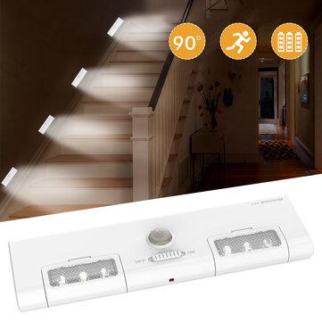 [Battery Operated] KCASA KC-LT1 LED Wireless PIR Motion Sensor Cabinet Cupboard Closet Light Lamp 6 LED 90° Light Angle for Home/Garage/Entrance/Hallway/Basement