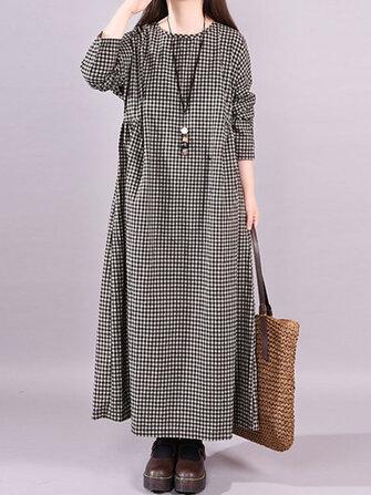 Vintage Women Cotton Plaid Casual Long Maxi Shirt Dress