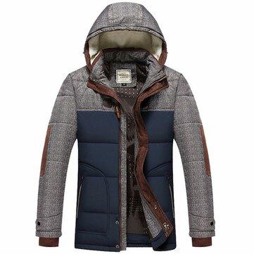 पुरुषों प्लस मोटी गर्म शीतकालीन हटाने योग्य हुड गद्देदार जैकेट पार्क