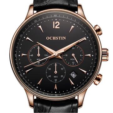OCHSTIN GQ050A Mode Läder Rem Män Quartz Watch Luxury Sub-Dial Business Watch