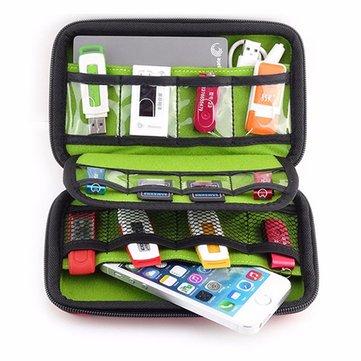 外部バッテリー USBフラッシュドライブ イヤホンデジタルガジェット袋 旅行持ち良いシルバー収納袋