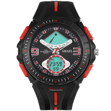 SMAEL 1315 Fahsionable LED Digital Watch Analog and Digital Dual Display Male Wristwatch