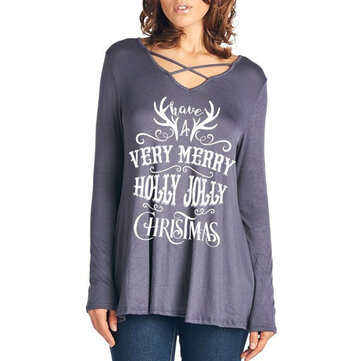 Casual Women Christmas Letter Print Front Cross Crew Neck Long Sleeve T-Shirts