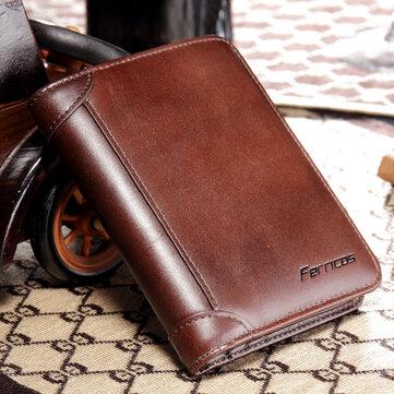RFID Carteira Curta Masculina Carteira de Três Dobras Carteira Vintage de Couro Legítimo Bloqueio Seguro