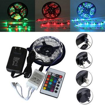 5M SMD 3528 300 Đèn LED RGB không thấm nước Dải linh hoạt 24 Phím IR Remote + Bộ chuyển đổi nguồn PCB