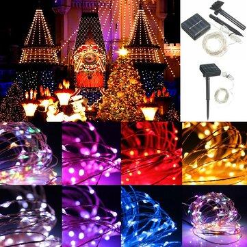 13M 120LED Năng lượng mặt trời ngoài trời Sliver String Fairy Light Wedding Party Xmas Garden Đèn IP67