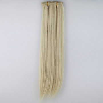 7Pcs NAWOMI Heat Resistant Friendly Clip In Synthetic Fiber Hair Extension 17.72 Inch Blonde