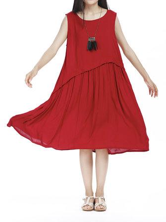 कैजुअल विमेन प्योर कलर प्लीटेड पैचवर्क ए-लाइन ड्रेस