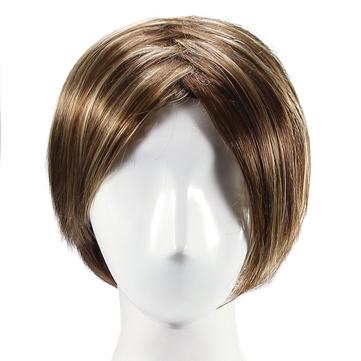 Sorot Bergaya Wig Sintetis Rambut Keriting Alami Capless Side Bang