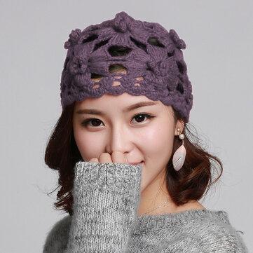 Áo len nữ đan bằng tay đan bằng mũ len Winter Winter Out Earmuffs Skull Cap