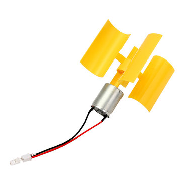 DC Micro Motor Small LED Lights Vertical Axis Wind Generator Wind Turbines Blades