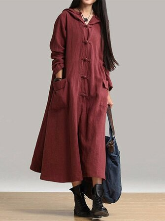 Vintage Women Long Sleeve Plate Buckles Pocket Hooded Maxi Dress