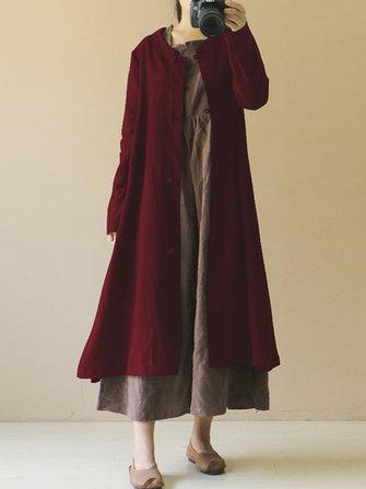 Women Long Sleeve Button Down Cotton Long Maxi Coats Outwear