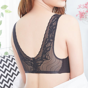 Wireless Full Cup Beauty Back Lace Vest Bra For Women