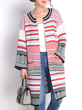 Mujer de manga larga de rayas multicolores Pocket Cardigan punto doble