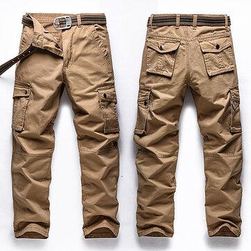 बड़ा आकार 30-48 मल्टी पॉकेट कार्गो पैंट फैशन पुरुषों आउटडोर सेना आरामदायक कपास पतलून
