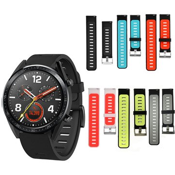 Bakeey 22mm Dual Color Soft Silicone Watch Strap Smart Watch Band for Huawei GT Smart Watch