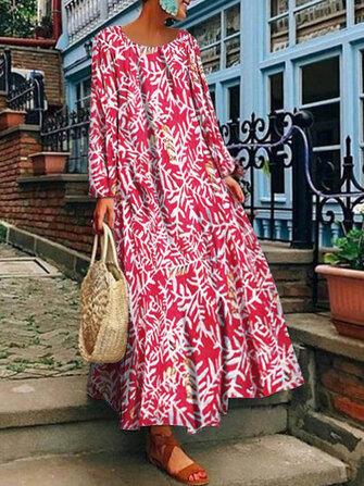 Women Vintage Long Sleeve Crew Neck Floral Print Maxi Dress