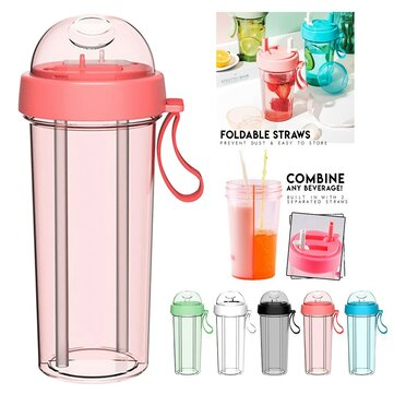 420/600ml Double-tube Opening Design Drinking Cup Kitchen Travel Creative Dual-use Water Bottle Drinking Cup Double Straw Cups for sale in Bitcoin, Litecoin, Ethereum, Bitcoin Cash with the best price and Free Shipping on Gipsybee.com