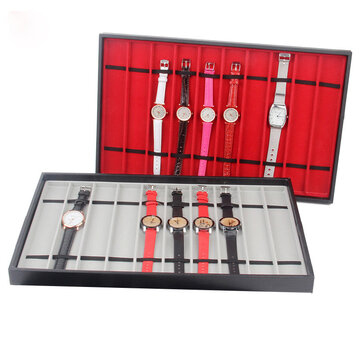 10 Slots Red/Grey Watch Display Tray Bracelet Necklace Jewelry Display Stand