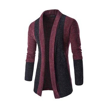 पुरुषों फैशन सिलाई टर्न-डाउन कॉलर बुना हुआ कार्डिगन आरामदायक स्लिम फिट स्वेटर