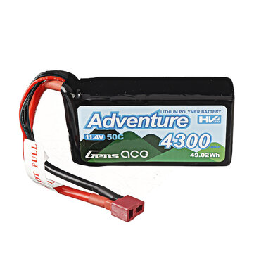 Gens ace Adventure 11.4V 4300mAh 50C 3S Lipo Battery T Plug for RC Car