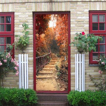 Maple Path auto adhesivo Mural Calcomanías 3D Door Wall Sticker Home Decor Impermeable