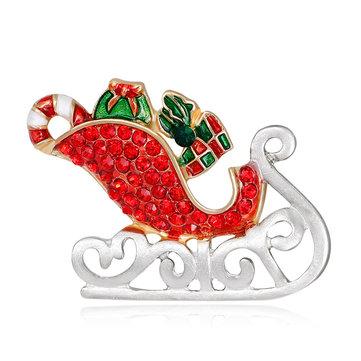 MloveAcc Men Santa Claus Xe trượt tuyết với Quà tặng Trâm pha lê Hijab Chân Giáng sinh Phụ nữ Trẻ em Trâm