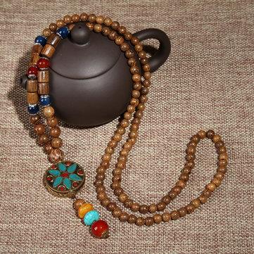 vendimia cuentas étnicas de madera collares accesorios de algodón Nepal ágata Colgante para hombres Mujer