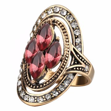 Bohemian Red Gemstone Crystal Finger Rings Ethnic Hollow Oval Geometric Ring Jewelry for Women
