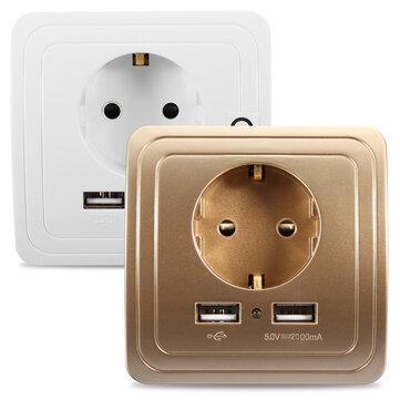 Excellway® 2.1A Portas USB Duplas Adaptador de Alimentação Carregador de Parede Tomada Painel de Saída Montagem de Plug da UE