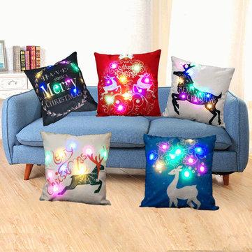 Christmas LED lights Linen Pillow Case Cushion Cover Home Decor Bed Sofa Case