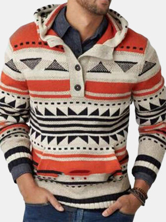 How can I buy Mens Vintage Tribal Geometric Pattern Knitted Half Button Front Hoodie Sweaters with Bitcoin
