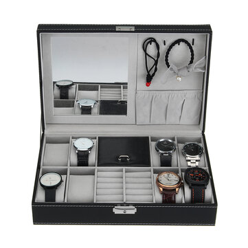 8 Slots PU Leather Lock Watch Box Jewelry Display Collection Storage Box with Mirror