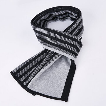 Mens Classic Winter Warm Knitted Shawl Striped Windproof Thickening Scarf Ultra Soft Neck Gaiters