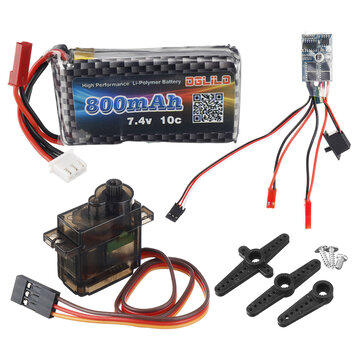 DIY Mosquito Car Three Piece Set 7.4v 800mah 3c Lipo Battery 9g Metal Servo Micro Brushed ESC RC Car Parts
