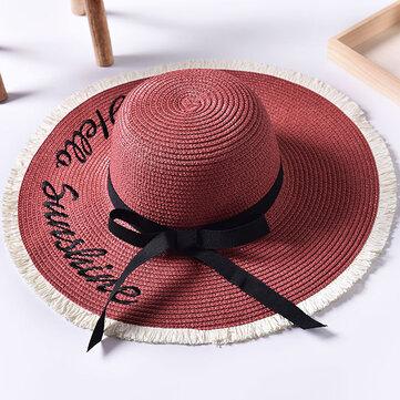 Phụ nữ mùa hè Wide Brim Beach Straw Hat Thêu thư ngoài trời Mũ chống nắng