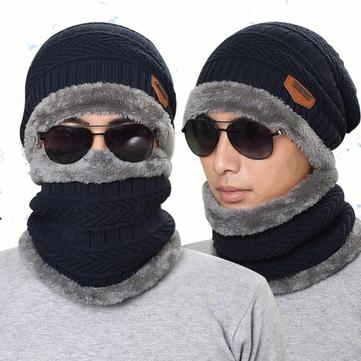 Knitted hat scarf cap neck warmer winter hats for men women skullies beanies  fleece Sale - Banggood.com