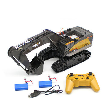 HuiNa 1592 with 2/3 Batteries 1/14 2.4G 22CH RC Excavator Engineering Vehicle Model Alloy Construction Truck