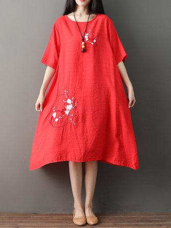 ヴィンテージ女性ルーズコットンリネン刺繍のOネック半袖ドレス