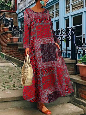 Women Bohemian Cotton Side Pockets Long Sleeve Dress