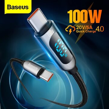 Baseus 100W LED Display USB C to USB C PD Power Delivery Cable E mark Chip Fast Charging Data Transfer Cord Line for Samsung Galaxy S21 Note S20 Iltra Huawei Mate 40 OnePlus 9 Pro for iPad Pro 2020 MacBook Air 2020