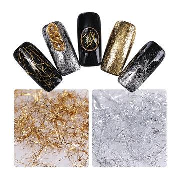 Silver Gold Thread Nail Decoration Shimmer Glitter Nail Art DIY Decoration