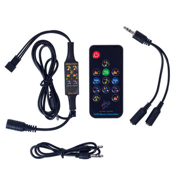 LUSTREON DC5-24V bluetooth Music LED Strip Light Controller with 13 Keys Remote Control for WS2812B WS2811