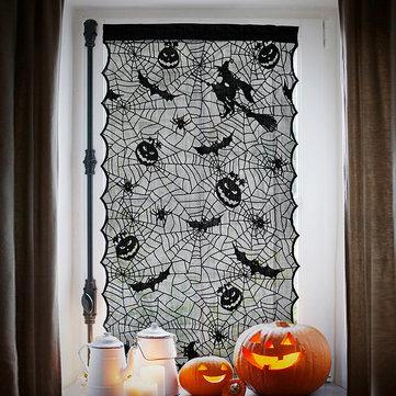 Janela de renda do dia das bruxas cortinas de porta bruxa abóbora morcegos pano casa assombrada decoração