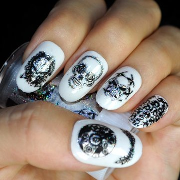 How can I buy Halloween Laser Skull Nail Stickers Decals Gorgeous Foils Wraps Manicure Decoration Zombie Design with Bitcoin