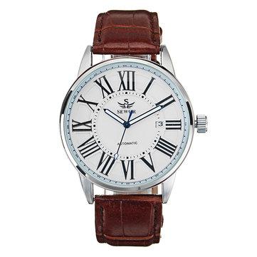 SEWOR Calendar Automatic Mechanical Watch Simple Style Analog Display Men Wrist Watch